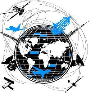 Ilustração de aviões voando ao redor de planetas